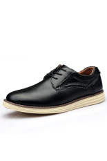 Casual Men Genuine Leather Shoes Fashion Lace Up Men Shoes (Black) (Intl)