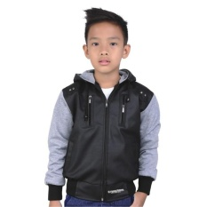 Catenzo Junior Jaket Casual Sekolah Anak Laki-laki CDI120 Best Seller - Boys Casual Hooded Jaket - Hitam