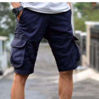 Celana Cargo Pendek Pria Slim Fit - Dongker