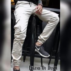 Celana cargo pria / kargo joger pria (krem)