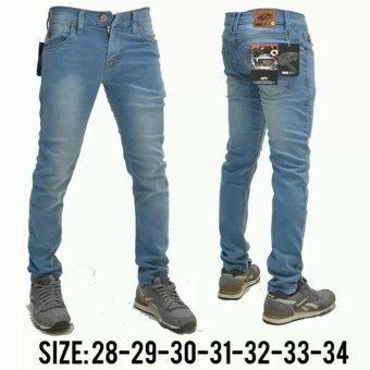 celana jeans panjang pria -biru muda wash