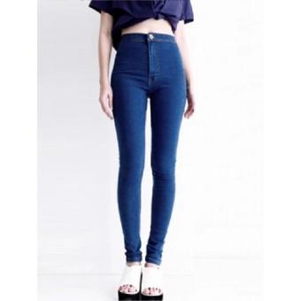 Celana jeans wanita hight waist - hw - biru
