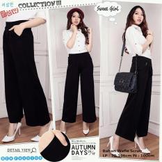 Celana kulot panjang jumbo wanita long pant Colour black