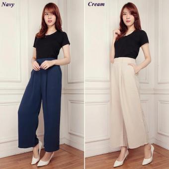 Celana kulot panjang wanita jumbo long pant Leoni - cream
