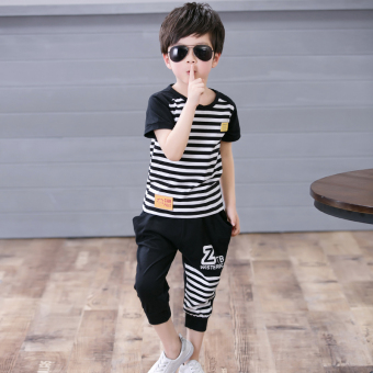 Celana Pendek Anak Laki-Laki Lengan Pendek Versi Korea Dua Potong Per Setelan (Anak