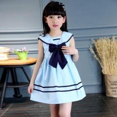 Children Girls Bowknot Sailor Dress Sleeveless Cotton Summer A-line Dresses Clothes - intl