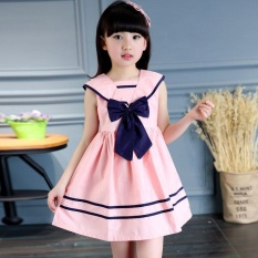 Children Girls Bowknot Sailor Dress Sleeveless Cotton Summer A-line Dresses Clothes - intl