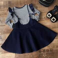 Children girls' long-sleeved striped T-shirt + wood ear denim strap dress suit - intl