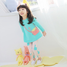 Children's Clothing Children's Kit Cartoon Cat Pants Suit Blue Pink - intl