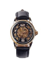 Cjiaba Gk1018 Fashoin Classci Mens Leather Strap Skeleton Automatic Mechanical Wristwatch Black + Gold