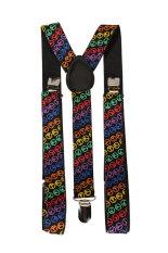 BolehDeals Clip-on Braces Elastic Y-back Suspender - Black W / Multicolor Peace Signs