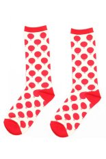 Cocotina Comfort Women Girl Fashion Cartoon Balloon Print High Socks Casual Sport Hosiery – Red