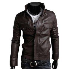 Cocotina Cool Men's PU Leather Jacket Biker Motorcycle Outwear Coat (Dark Brown)