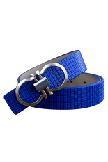 Cocotina Fashion Unisex Printing Imitation Leather Smooth Pin Buckle Casual Waist Band Strap Belt - Dark Blue