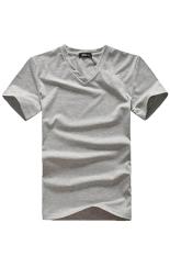 Cocotina Men's Casual Top Solid Color Slim Fit V Neck T-shirt (Grey)
