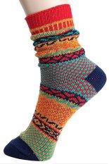 Cocotina Vintage Ethnic Style Winter Multicolor Stripe Men's Women Casual Stitch Warm Socks – A