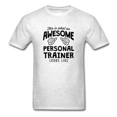 CONLEGO Designed Men's Awesome Personal Trainer Looks Like T-Shirts Light Oxford