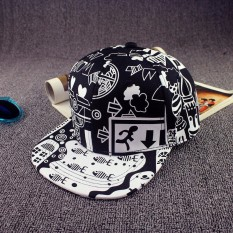 Cool Men Women Scrawl Graffiti Hat Hip Hop Kpop Snapback Baseball Cap Adjustable .