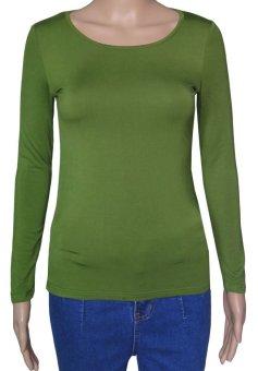 COSIVIA Cotton Muslim long sleeve half-length T shirt army green