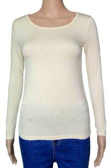 COSIVIA Cotton Muslim long sleeve half-length T shirt beige
