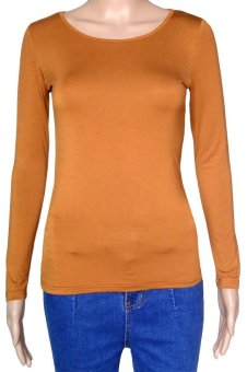 COSIVIA Cotton Muslim long sleeve half-length T shirt  camel