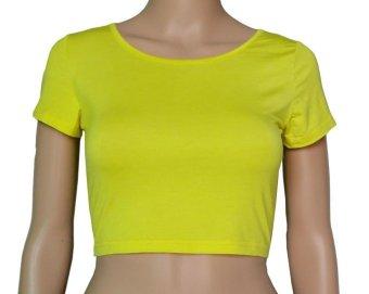 COSIVIA Cotton Muslim short sleeve half-length T shirt yellow