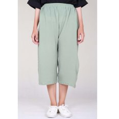 Cotton Bee Pallazo Midi Cullote Pants - Pale Green