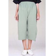 Cotton Bee Pallazo Midi Cullote Pants - Pale Green