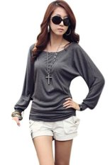 Cotton Blend Women Long Sleeve T Shirt (Grey)