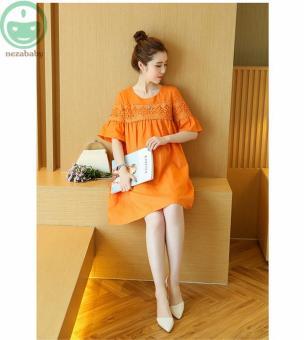 d40efeac03cc2 Cotton Linen Orange Dresses for Pregnant Women Short Sleeve Dress Maternity  Clothes o Neck Maternity Dresses