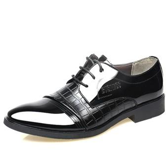 Crocodile Lines Men's Pointed Business Shoes (Black)