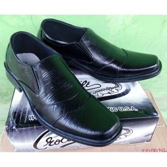 Crocodille - Sepatu Pantofel/Formal Pria 100% Kulit Asli Warna Hitam Moddel 2016
