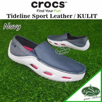 Crocs tideline leather Navy, sepatu pria tideline leather