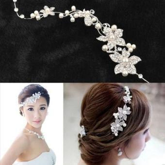 Crystal New Kecantikan Pearl Bunga Partai Bridal Headband Tiara Hiasan Kepala Perak - Intl