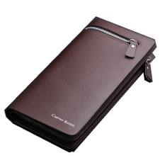CUREWE KERIEN Brand Mens PU Leather Long Zipper Purse BusinessWallet Handbag Coffee
