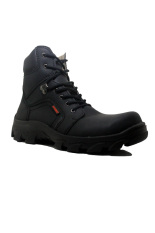 Cut Engineer Safety Boots Iron Fosil Leather - Hitam