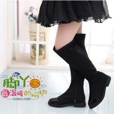 Cutevina - Black Shoes Girls High Boots / Sepatu Boots Tinggi Cewek (LC17020)