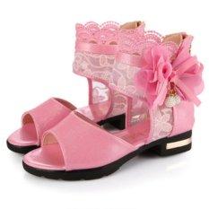 Cutevina - Girls Lace Shoes / Sepatu Boots Brokat Cewek - Pink (LC17001)
