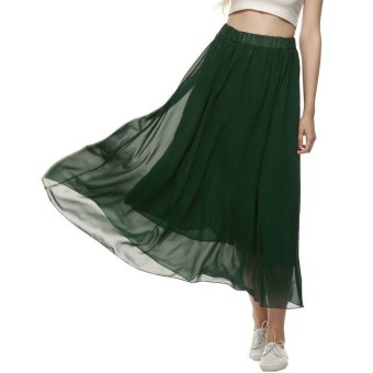 ACEVOG Retro Women Full Length Elastic Pleated Chiffon Maxi Long Casual Dress