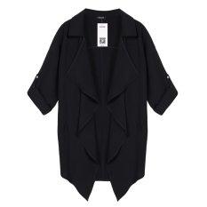 Cyber ACEVOG Women Fashion Casual Loose Lapel Batwing Long Sleeve Irregular Hem Pocket Solid Trench Coat (Black) - Intl