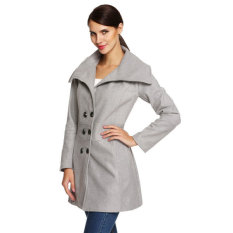 Cyber ACEVOG Women Fashion Slim Casual Envelope Collar Double Breasted Wool Blend Trench Coat (Gray)