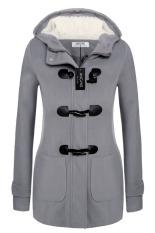 Cyber Angvns Stylish Ladies Women Casual Long Sleeve Hoodie Hip Length Solid Winter Warm Pockets Coat Outwear (Dark Grey)