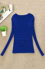 Cyber Casual Fall Women Round Collar Long Sleeve Pullovers T-shirt Tops (Blue)