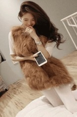Cyber Chic Lady Faux Fur Vest Winter Warm Coat Outwear Long Hair Jacket Waistcoat (Khaki)