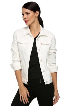 b44c48d9de4ea Cyber Classical Outwear Jeans Coat Denim Jacket Fashion Slim Blouses ( White  )
