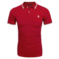 Cyber COOFANDY Men Casual Turn Down Collar Short Sleeve Slim Fit Polo Shirt T Shirt Tops (Red) (Intl)