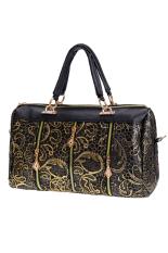 Sunweb Fashion Elegant Women Lace Style Synthetic Leather Handbag Top-Handle Bag (Gold)