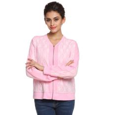 Cyber Finejo Women Long Raglan Sleeve Floral Lace Patchwork Zip Up Varsity Baseball Jacket (Pink)