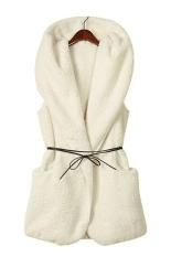 Cyber Korea Women's Girls Fashion Elegant Warmer Casual Bushy Hoodie Long Vest Coat (White)