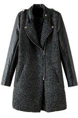 Cyber Korea Women's Girls Fashion Stand-Up Collar Leather Long Sleeve Badge Decoration Coat (Grey)